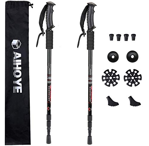 aluminum poles for hiking walkings Aihoye Hiking Trekking Poles, 2 Pack Collapsible,Lightweight, Anti Shock, Hiking or Walking Sticks,Adjustable Hiking Pole for Men and Women, with 10 Replacement Tips