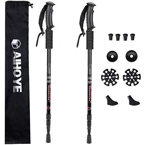 Aihoye Trekking Poles, Collapsible Lightweight Shock-Absorbent Hiking Walking Sticks Adjustable Aluminum Hiking Poles for Women Men Kids, 2 Pack, with 10 Replacement Tips(Black)