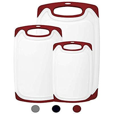 HOMWE Kitchen Cutting Board (3-Piece Set) - Juice Grooves with Easy-Grip Handles - BPA-Free, Non-Porous, Dishwasher Safe - Multiple Sizes (Red) by PSOM-MIYL-RED