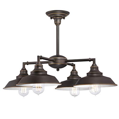 Westinghouse Lighting Bronce aceitado Westinghouse iluminación 63433 Lámpara de araña/de Techo para Interiores Iron Hill de Cuatro Brazos, Acabado Reflejos