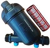 Suinga FILTRO de MALLA 3/4' para tubería 25mm. Utilizado en instalaciones de riego y RIEGO POR GOTEO. Rosca macho 3/4' con capacidad filtrado 120 Mesh.