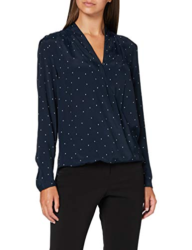 Seidensticker Damen Bluse – Fashion Bluse - Wickelbluse - V-Neck - Regular Fit – Langarm – 100% Viskose, blau-weiß, 42