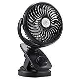 COMLIFE 5000mAh Rechargeable Battery Operated Clip on USB Desk Fan, Mini Portable Personal Fan for Baby Stroller, Car, Gym, Office, Outdoor, Travel, Camping