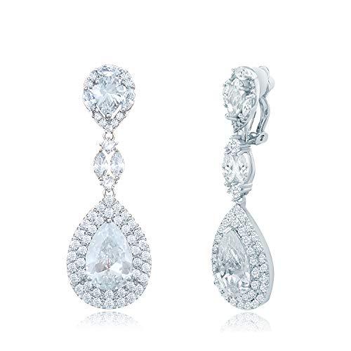 QUKE Shining CZ Crystal Long Drop Dangle Clip On Earrings Non Pierced Elegant Water Drop Shape Wedding Bridal Jewellery For Women Girls
