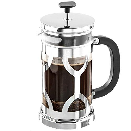 Levivo Kaffeebereiter / Stempelkanne aus hitzebeständigem Glas mit verchromtem Edelstahlrahmen, 1,0 l