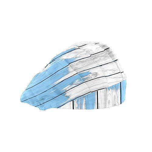 Gorra de mujer para cabello largo Trabajo sombrero con banda elástica ajustable de trabajo gorras para hombres Trabajo cabeza bufanda 3D impreso sombreros azul blanco madera impresa