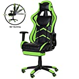 Best Choice Products Ergonomic High Back Executive Office Computer Racing Gaming Chair w/ 360-Degree Swivel, 180-Degree Reclining, Footrest, Adjustable Armrests, Headrest, Lumbar Support, Green