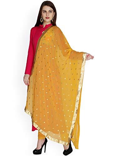 TMS Damen Schal, bestickt, Chiffon, Dupatta, weich, indische Braut, Hochzeit, senfgelb,