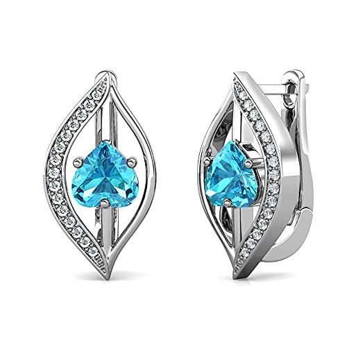 YOURDORA Pendientes para mujer en forma de hoja de plata de ley 925 rodiada con cristal de Austria azul