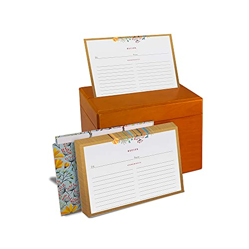 Wooden Recipe Box with 100 Recipe Cards and Dividers - 4x6 Double Sided Floral with Gold Border Design - Rustic Kitchen Recipe Holder and Organizer (Wooden)