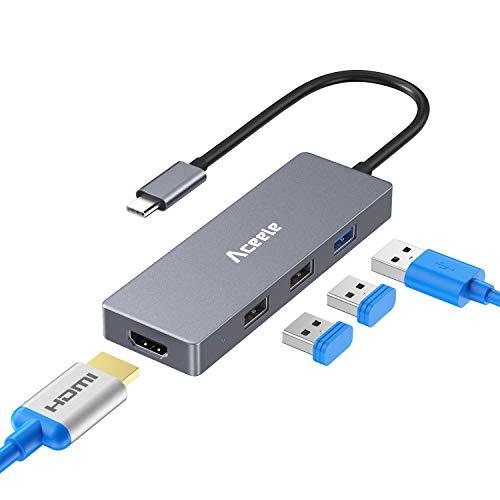 Aceele Hub USB C, Aluminio 4 en 1 Tipo C Adaptador USB Tipo C a 4K HDMI USB 2.0 & 3.0 Puertos concentrador, para MacBook Pro, DELL XPS 2017, Lenovo Yoga 900/910, Huawei Mate 10 etc