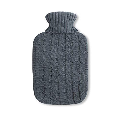 Premium kruik warmwaterfles 1.8 liter met mooie zacht gebreide hoes met vlechtpatroon, Warmtekussen – BS1970:2012…