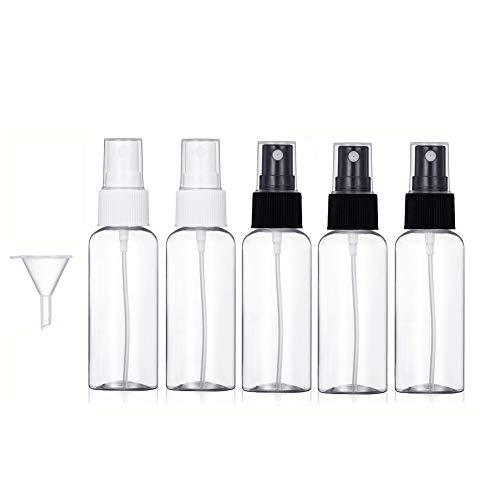 Baulanna 50ml Sprühflasche klein,Zerstäuber Sprayflasche leer, 5 Stück Tragbare Reisen Flaschen,Tragbares Reiseflaschen Set mit Trichte (5 * 50ml) (3 black 2 white)