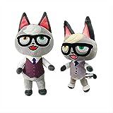 N\A 22cm / 25cm 2pcs / Set Animal Crossing Plush Toy Cartoon Animal Cat Peluche De Juguete para Niños Regalo De Cumpleaños