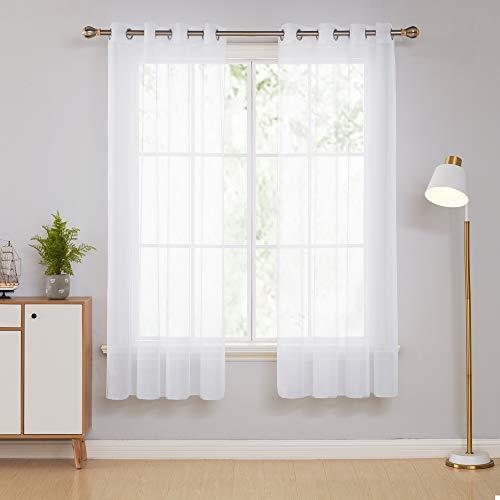 Deconovo Ösenschal Vorhang Voile Gardinen Wohnzimmer 180x140 cm Weiß 2er Set, Stoff, 180x140