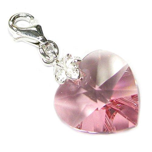 Sterling Silber Swarovski Elements rosa Oktober Geburtsstein Simuliert europäischen Hummer Stil Charme