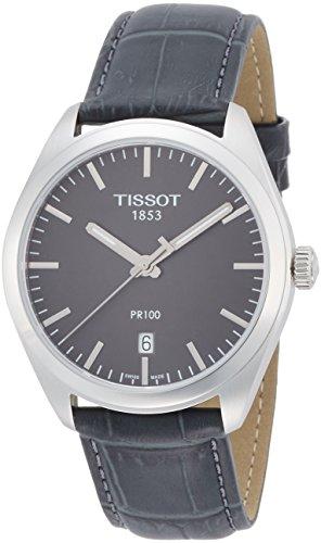Tissot PR 100 Herren-Armbanduhr 39mm Armband Leder Grau Quarz T1014101644100