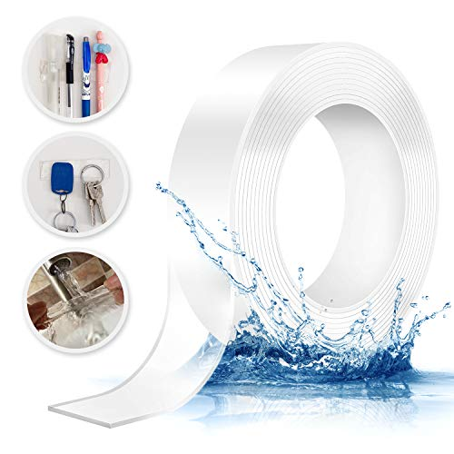 0.08 Inch Thick Nano Tape Traceless Transparent Washable and Reusable Double Sided Adhesive Tape High Temperature Resistant Soft Material High Viscosity Mounting Solid Gel Alien Tape 1 Roll