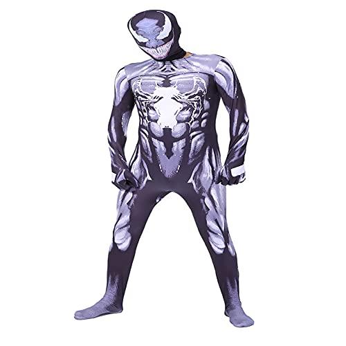 Disfraz de Veneno Mono de superhéroe para niño Medias de Cosplay Medias Symbiote Mono de Carnaval Halloween Zentai Pretender Jugar Disfraz Lycra Spandex Ropa,Black-Kids/2XL/135~145cm