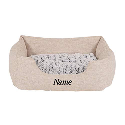 Hundebett Hundekissen Hundekörbchen mit Wendekissen meliert (S) 60x50 cm Beige (mit Namensaufdruck)
