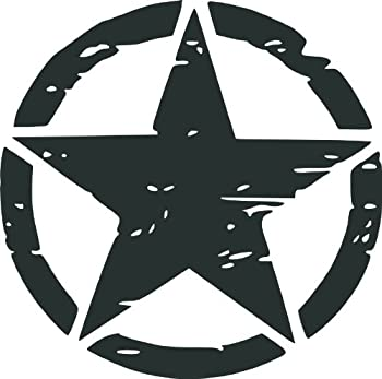 Misc Decals Army Rought Star Vinyl Car Decal Black  5-by-5 inches