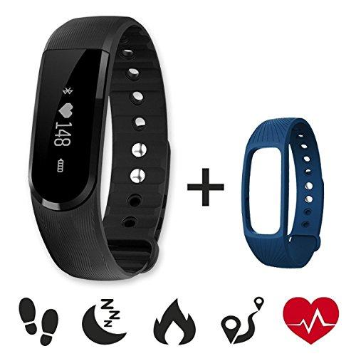 CAMTOA Herzfrequenz Fitnessarmband, Id101Hr Pulsuhr Aktivitätstracker Wasserdicht Ip67 Fitness Armband - Schrittzähler, Sms Anrufe, Kalorienverbrauch, Kamera-Fernbedienung