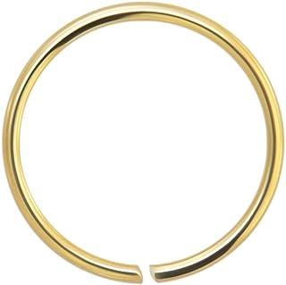 14k Oro 22 Gauge - Anello di 6mm Diametro Cerchio Aperto Continuo Senza Cuciture Naso Piercing Naso