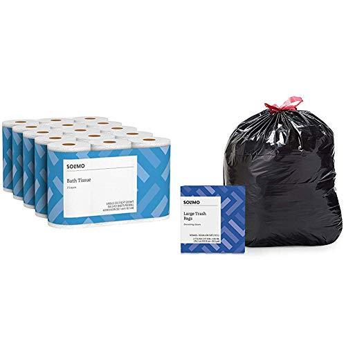 Solimo 2-Ply Toilet Paper, 350-sheets per Roll, 30 Rolls Bath Tissue & Amazon Brand - Solimo Multipurpose Drawstring Trash Bags, 30 Gallon, 50 Count