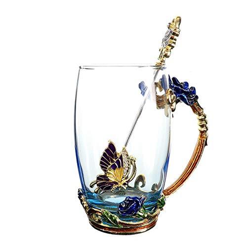 DACCU Blue Rose Emaille-kristallen Cup-bloemen-thee glas hoogwaardige glazen water-schaal bloemenbeker met handgreep perfect cadeau voor liefhebbers van bruiloft, hoog 400 ml