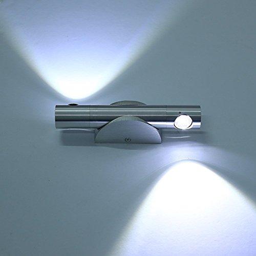 Lightsjoy Apliques de Pared Moderna de Aluminio 6W 2 Granos LED Luz Frío,360 Grados Angulo Ajustable Granos para Iluminación de Dormitorio Studio Hogar Porche Pasillo Salón Jardín Blanco Frío