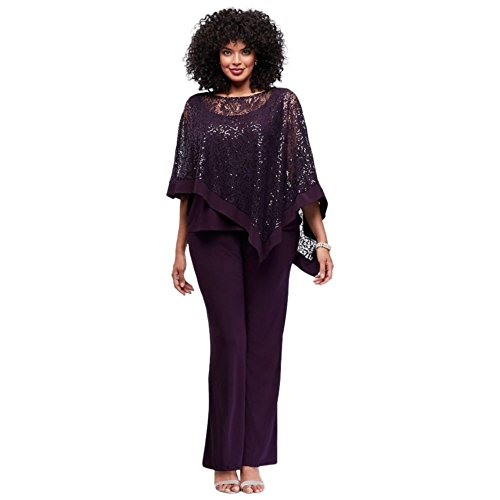 Sequin Lace Plus Size Pantsuit With Sheer Capelet Style 8998WD, Black, 18W