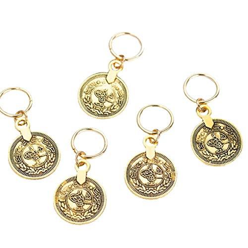 5pcs Haar-Flechten-Ring Dreadlocks Perlen Cuffs Braid Schmuck Haarschmuck Für Frauen Münzen-Form-Anhänger