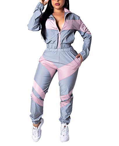Ophestin Womens 2 Piece Outfits Long Sleeve Windbreaker Tracksuit Pants Sets Gray Pink Size M