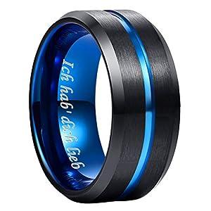 NUNCAD Ring Herren/Damen Wolframcarbid Außenbreite 8mm bequem, Men Fashion Schmuck ✔Ehering ✔Verlobungsring ✔Freundschaftsring ✔Lifestyle-Ring, schwarz blau, Größe 47 bis 80