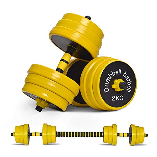 Nice C Adjustable Dumbbell Barbell Weight Pair, Free Weights 2-in-1 Set, Non-Slip Neoprene Hand, All-Purpose, Home, Gym, Office (Barbell 44LB or 22 LB Dumbbell Set)