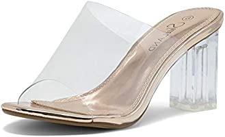 Shoe Land CLLAARY-L Women's Perspex Heel Ankle Strap Adjustable Buckle Lucite Clear Block Chunky High Heel Open Toe Sandal