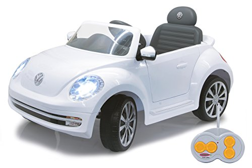 RC Auto kaufen Kinderauto Bild: Jamara 460220 - Ride-on VW Beetle weiß 27MHz 6V - Leistungsstarker Antriebsmotor und Akku, Ultra-Gripp Gummiring am Antriebsrad, LED-Scheinwerfer, Fahrertür lässt sich öffnen, Hupe und Sound*