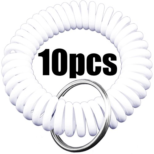 Shells 10PCS Pure White Color Soft Highly Spring Spiral Coil Wrist Band Key Ring Chain