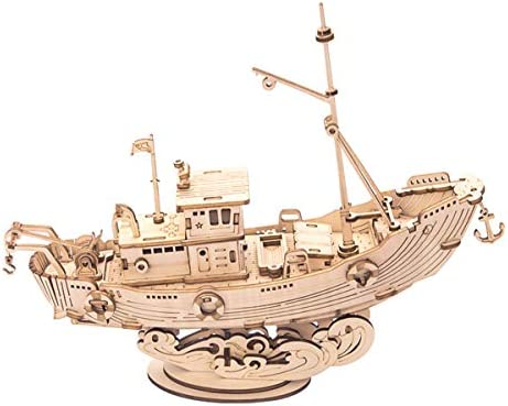 Rolife 3D Wooden Puzzle Ship Model 7 5 Fishing Ship 104 pcs Collectible Display Building Kits product image