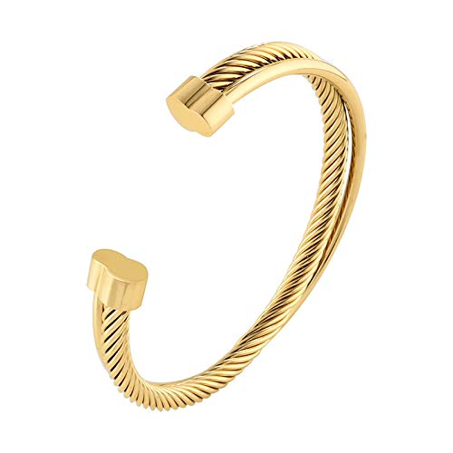Rose Gold Color Cuff Bangle Bracelet for Woman Man Stainless Steel Wire Wistband Simple European Trendy Female Jewelry Gift gold color
