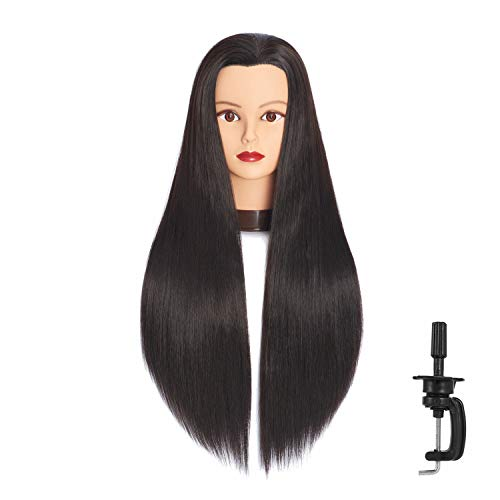 Headfix 26'-28' Long Hair Mannequin Head Stnthetic Fiber Hair Hairdresser Practice Styling Training Head Cosmetology Manikin Doll Head With Clamp Stand (6F1919LB0220)