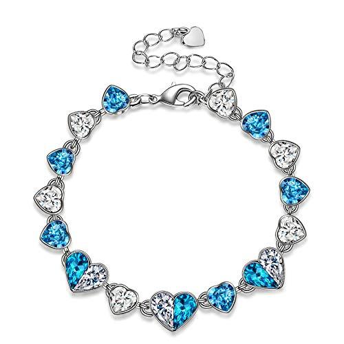 Kami Idea Pulsera de regalo, corazón del océano, color platino, pulsera para mujer con estuche de joyas, puro amor para ella