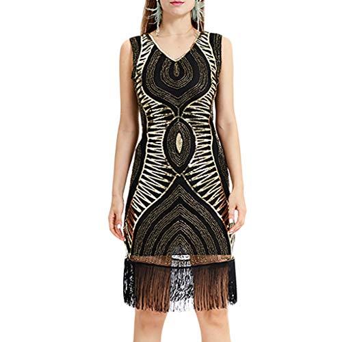 Kleider Damen,SANFASHION Damen Kleid Retro 1920s Stil Flapper Kleider voller Pailletten Runder Ausschnitt Great Gatsby Motto Party Kleider Damen Kostüm Kleid