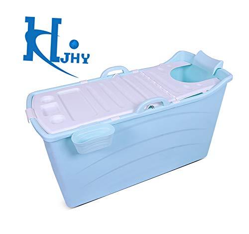 JRCOZZL Faltende Badewanne, Tragbare Badewanne,  Aufblasbare Badewanne, Kinderbecken, Kunststoff, Mit Deckel (Farbe : Blau)