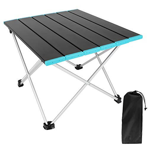 Luckits Portable Camping Table with AluminumFoldingTable Top and...