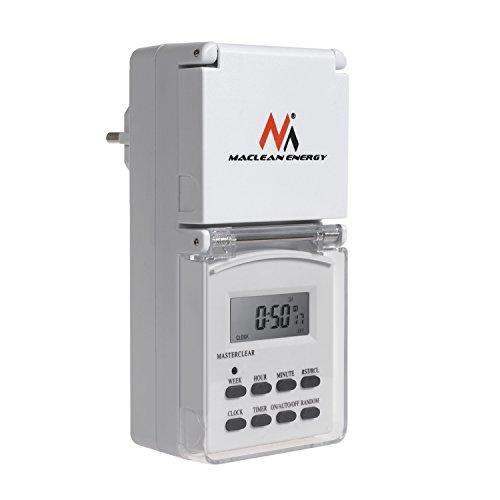 Maclean MCE08G Digital Zeitschaltuhr für Außenbereich mit 10 Programmen