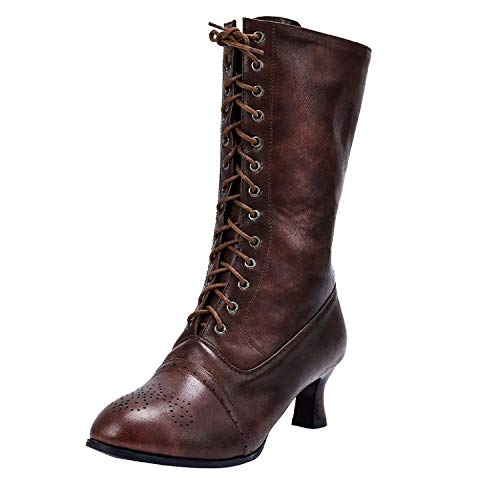 Tsmile Women Lace Up Boots Classic Vintage Fashion Kitten Heel Wing Tip Extra Wide Calf Pointed Toe Riding Booties Brown