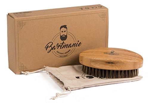 Bartmanie Bartbürste aus edlem Holz und Pferde Echthaarborsten für perfekte Bartpflege, Bartstyling Bürste aus Rosshaar in edler Geschenkbox