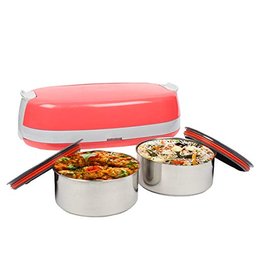 Tiffon Electric Lunch Box, Stainless Steel Food Heater (Basket Pink)