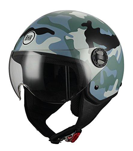 Casco de moto demi jet con diseño militar
